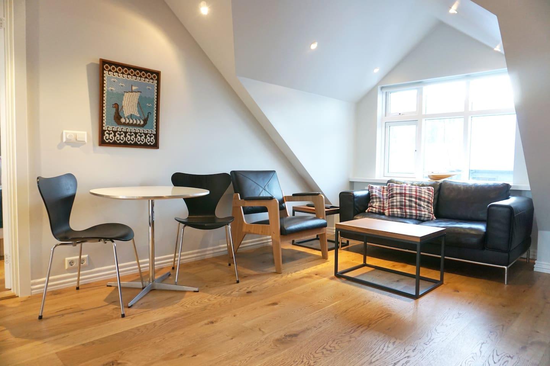 The loft apartment living room.