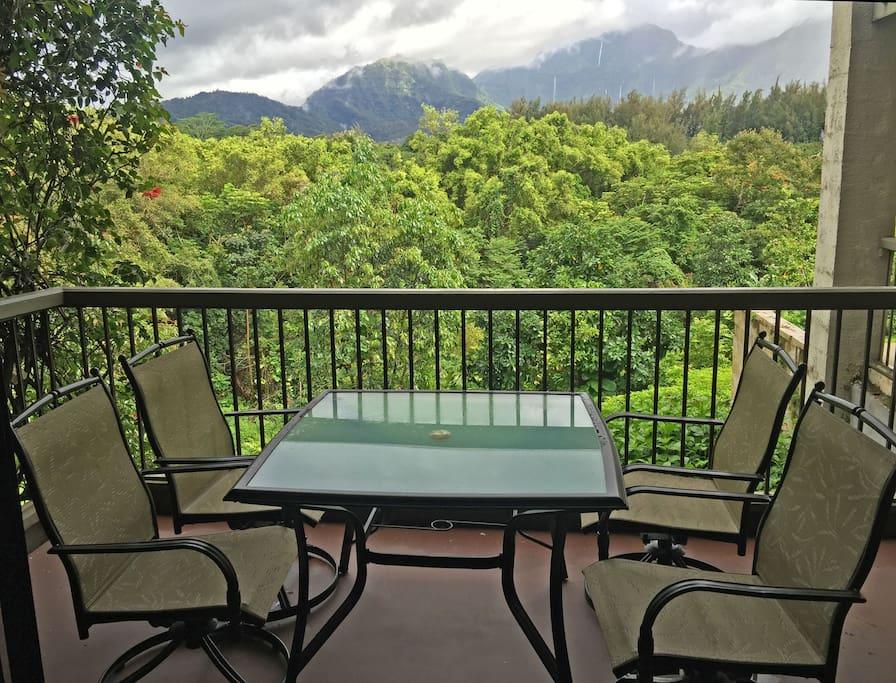 Dinette set on balcony