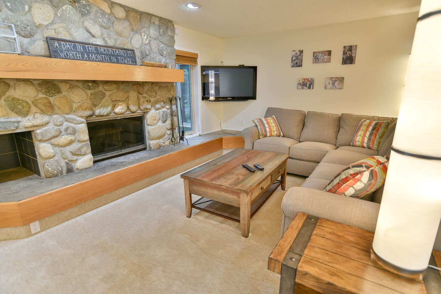 Comfortable lounge with fireplace