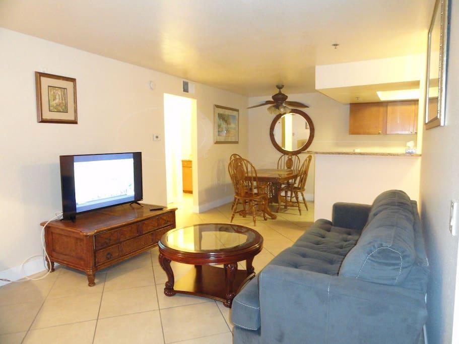 The living room has a 43 inch smart Vizio TV.