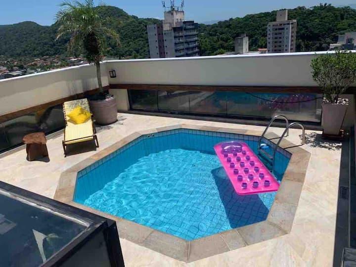 Apto Cobertura c/ piscina-Guarujá Praia Tombo - SP