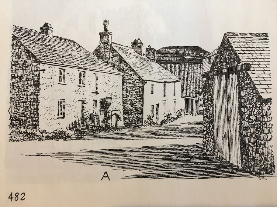 Wainwright sketch featuring Spa Cottage (first on the left) from his book 'Westmorland Heritage'