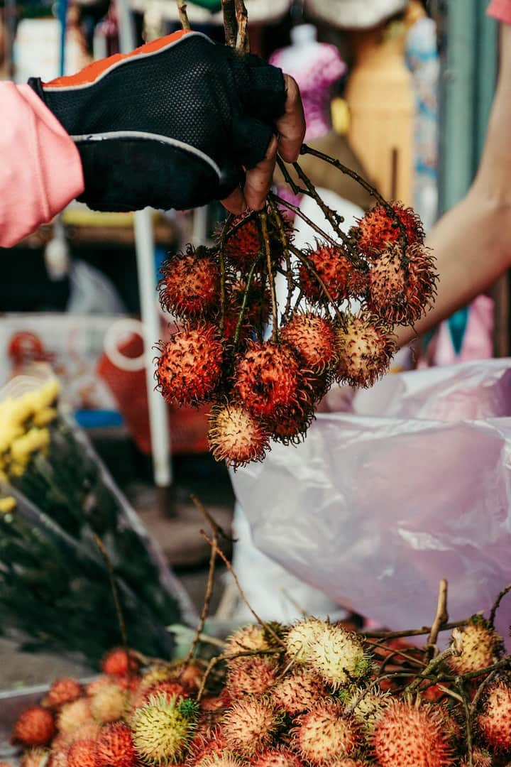 Buying fruit on the way of riding