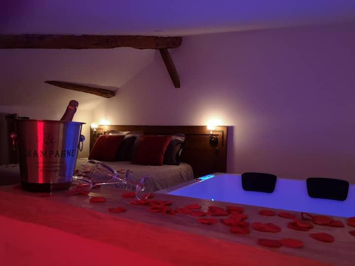 Nuit romantique Spa, champagne, petit déj, roses