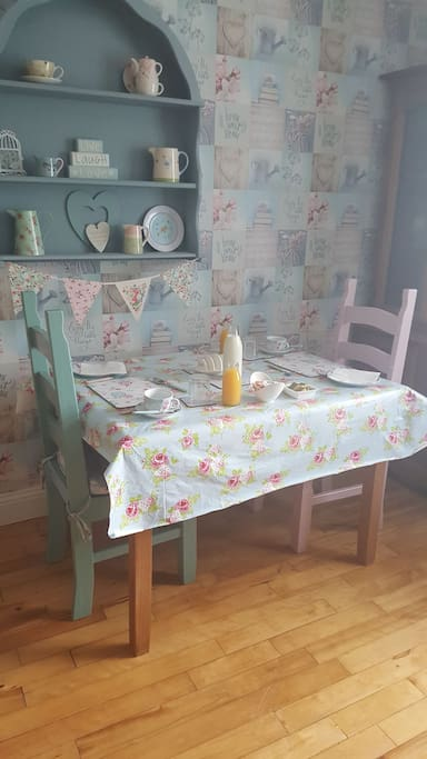 Beautiful Cath Kidston design breakfast room where a full cooked breakfast is served along with a choice of cereal, toast and tea/ coffee