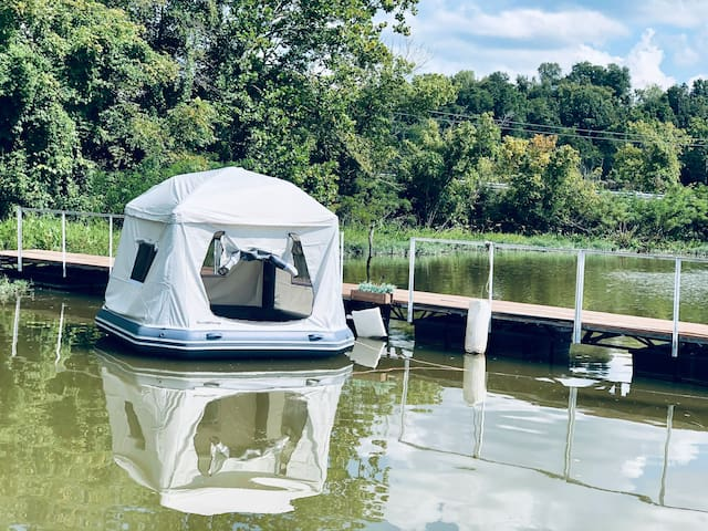Floating Tent, in Water, at marina off Ohio River