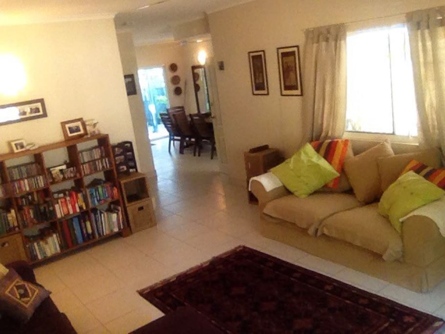 Two comfy 3-seater couches and plenty of room to relax. Books and CDs to keep you occupied.