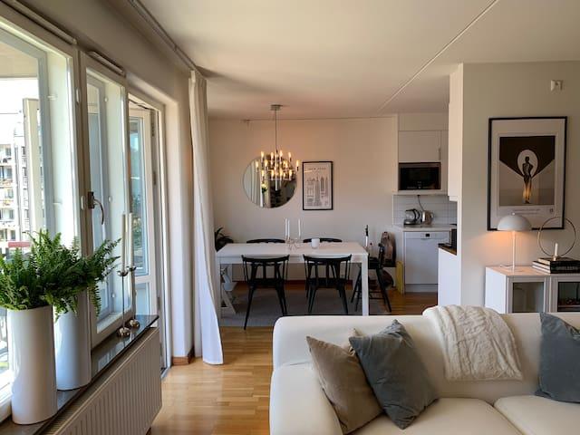 Living room towards kitchen area