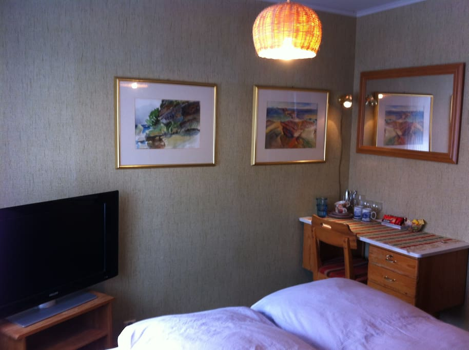 In the room you will have wireless internet, work desk, TV and beautiful art.