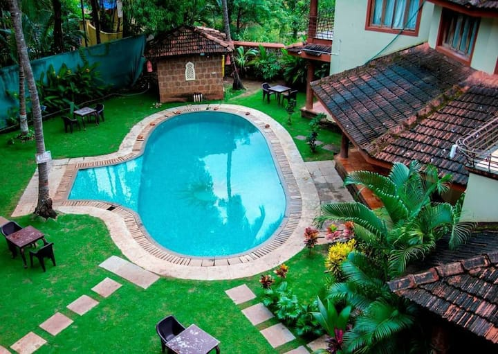 Pool facing 1 room 1-The Blackbuck Morjim