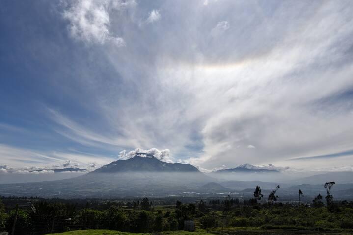 Imbabura Volcano in the morning sun