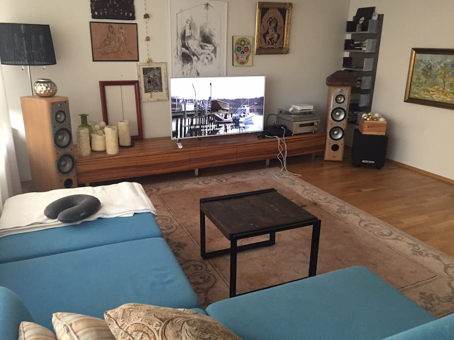 Living room with TV,cable TV, PS3, audio