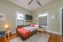 Sofa bed extends into comfortable queen size bed.  Linens stored in chaise part of the unit, which lifts up.