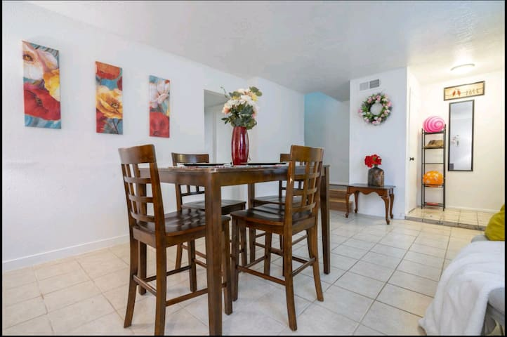 Dining area that leads to upstairs bedrooms