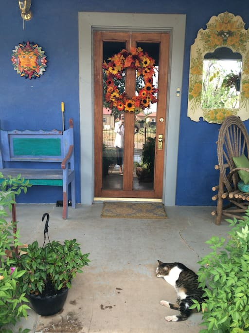 Front porch and door. A good place to enjoy a glass of wine and watch the sun set