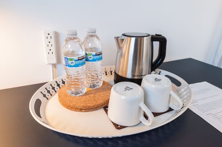 Hot water kettle, power extension for work area, water bottle/mug per guest upon check-in for your convenience (Water kettle no longer available.  Sorry for the inconvenience.)
