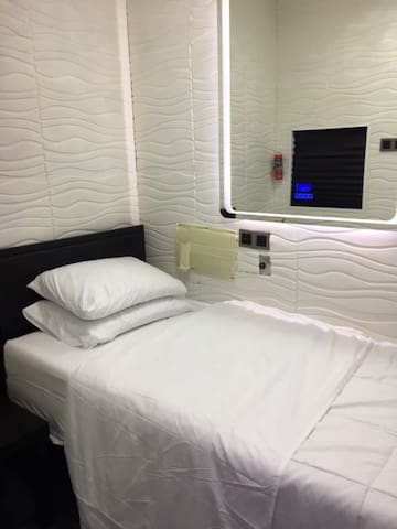 Single room, 1 Twin bed, Maximum sleep one person.