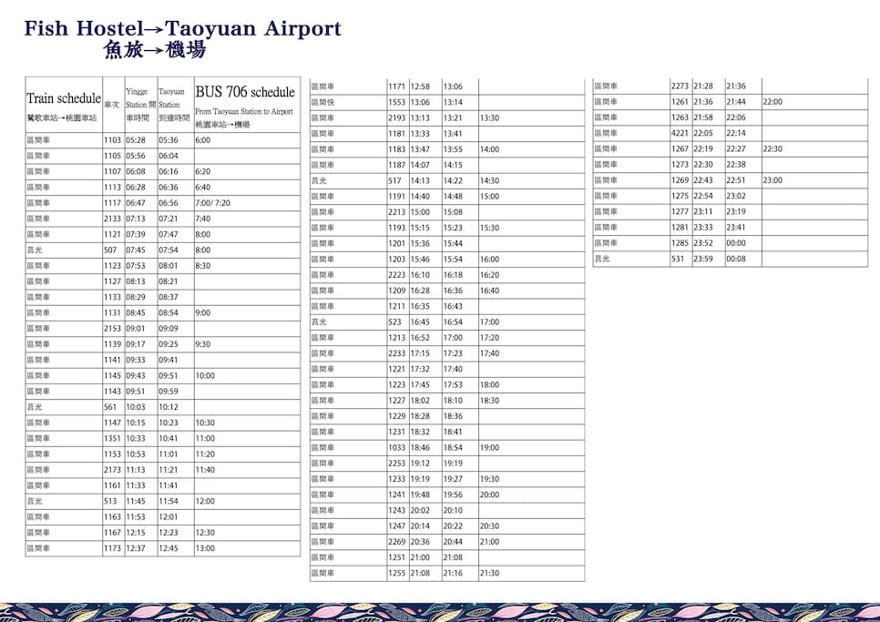 schedule from airport to fish hostel