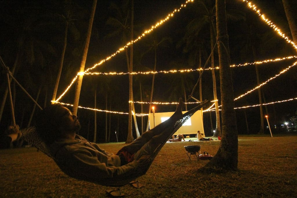 Outside lounging area at night