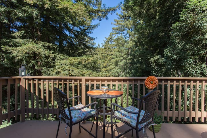 Enjoy your breakfast or dinner overlooking the beautiful redwoods.