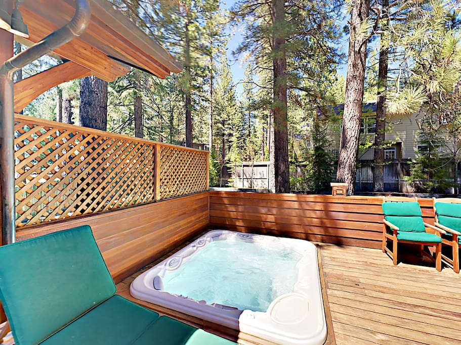 Sink into a private hot tub on the sun-drenched back deck.