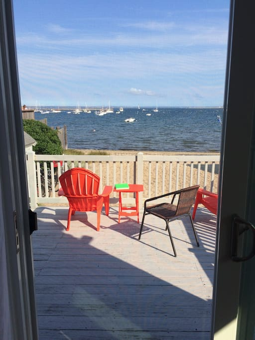 Deck directly off of Living Room.  Nice quiet beach to relax and enjoy the beautiful ocean air and view.