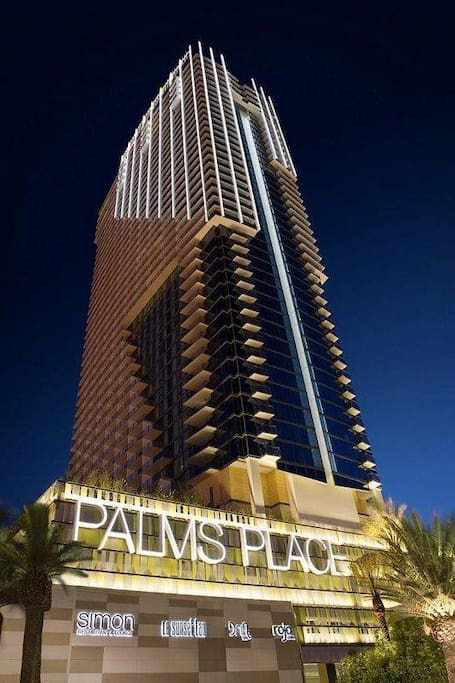 Palms Place, it looks like this at night, stylish and modern look