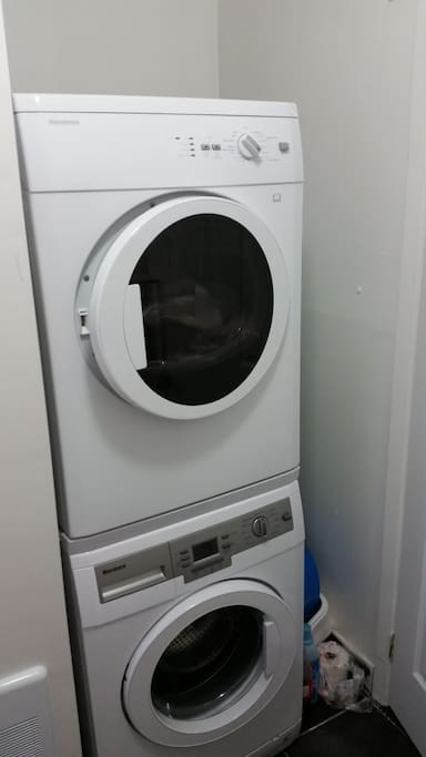 Washer Dryer in the bathroom. Sorry for the tilt pic.