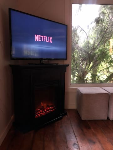 """Electric fireplace. Controls behind the bottom panel of the fireplace to turn on heat or just for ambiance. 47"""" tv with free access to Netflix."""