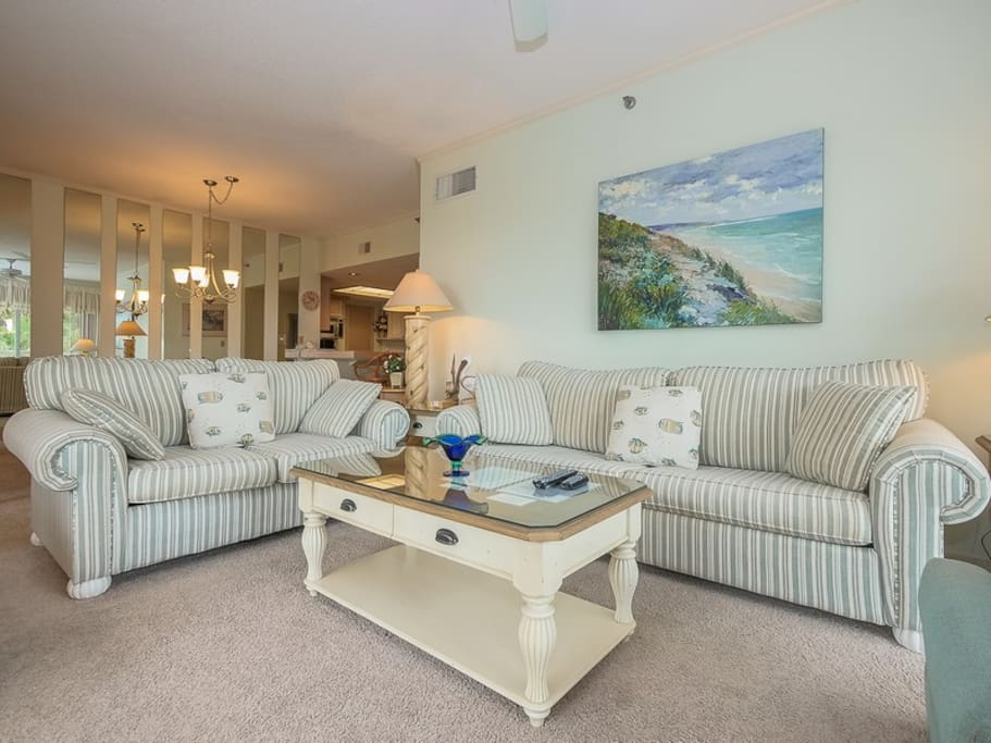 Open Living Area with Flat Screen TV at 113 Barrington Court