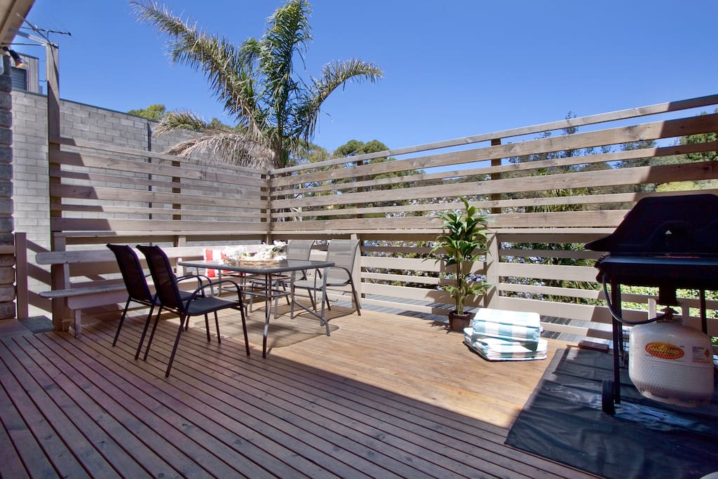 Sunny deck with BBQ