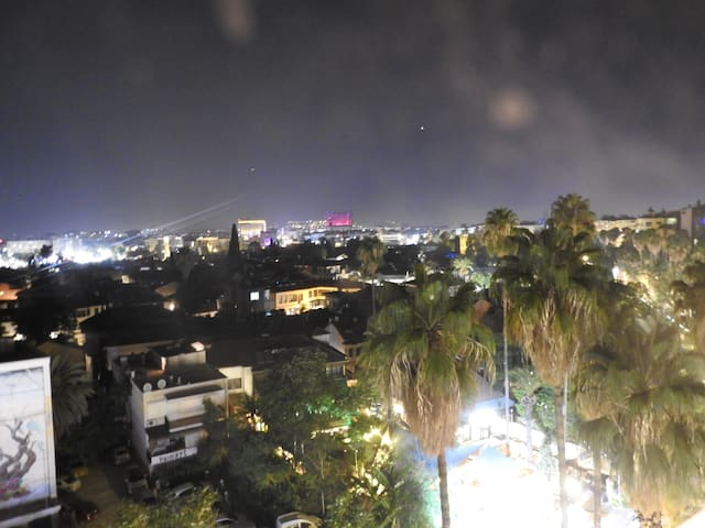 View of Old Town from Balcony at night