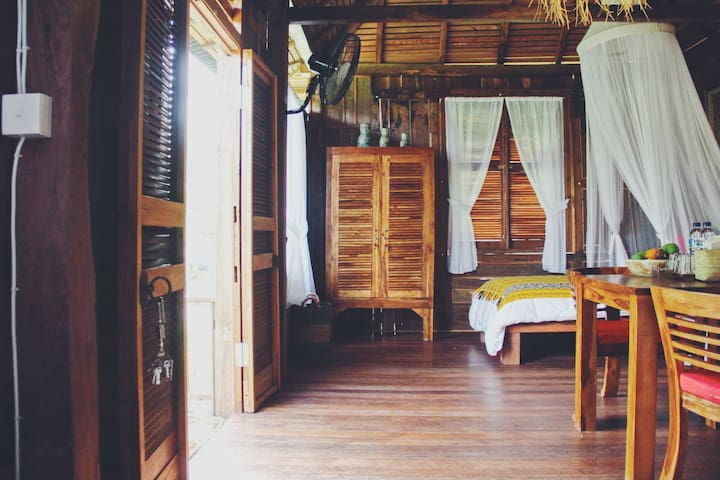Designed wooden villa Kunyit in Rice paddies