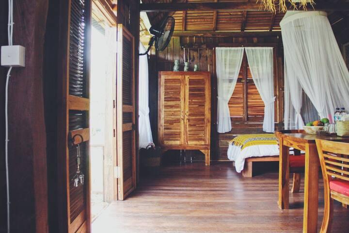 Designed wooden villa Genta Agro in rice paddies