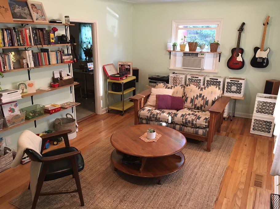 Snuggle up and enjoy a record in our cozy living room