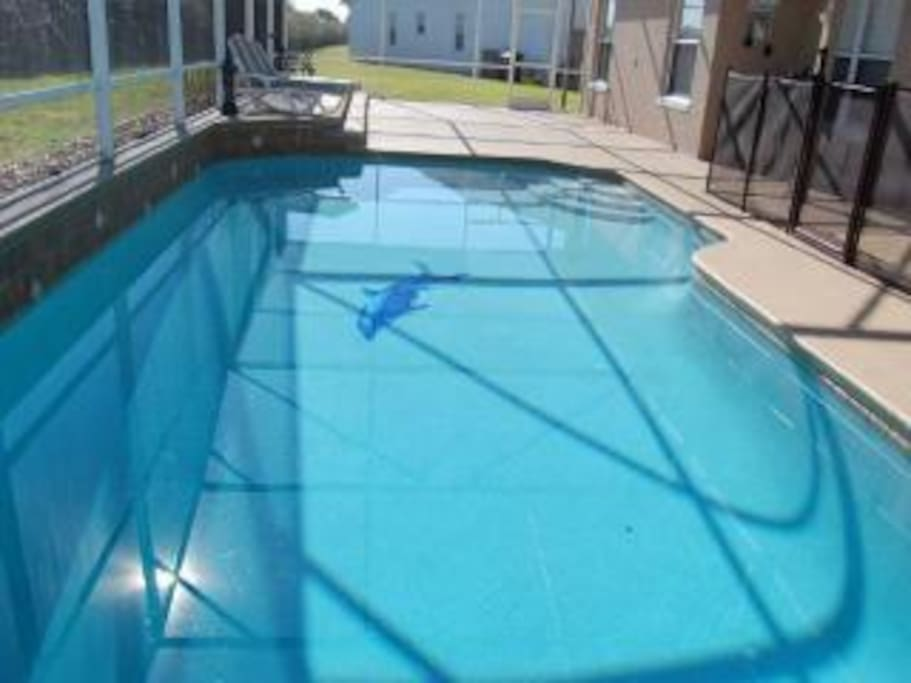 Salt water pool, 425 sqft. with Dolphin. 4 sun launches.  Pool towels.