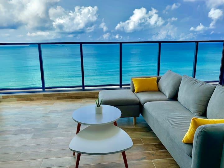 270°超大观景阳台,距海滩不到百米一线海景公寓