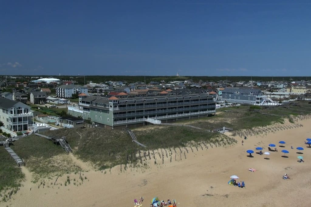 drone aerial of First FLight Retreat condos oceanfront