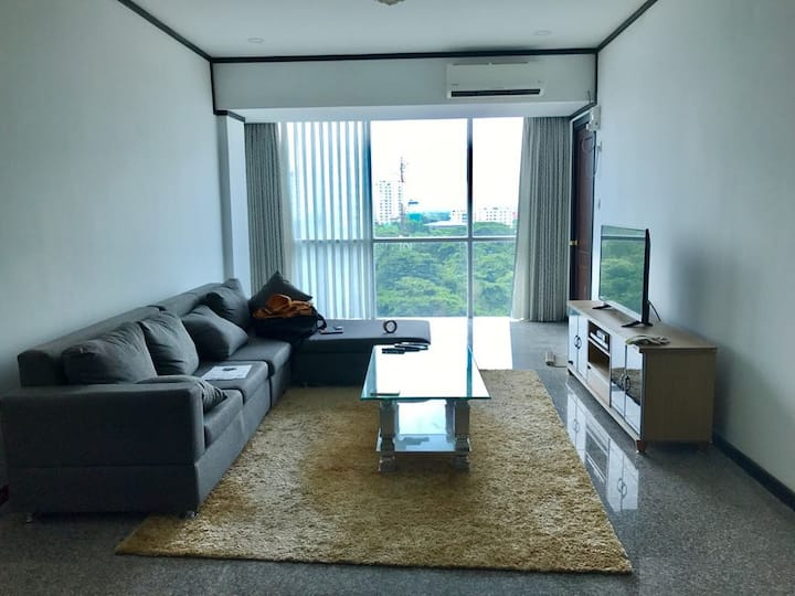 A cozy, furnished room in the upscale, safe condo