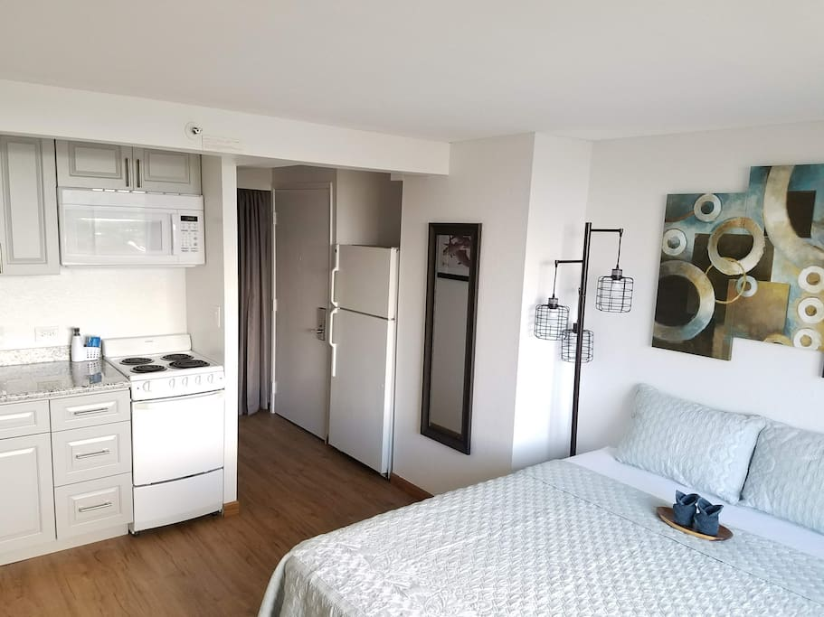 Spacious studio with queen bed and full kitchen