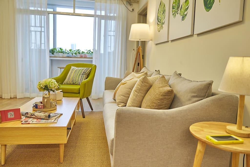 客厅,超大舒适的北欧布艺沙发