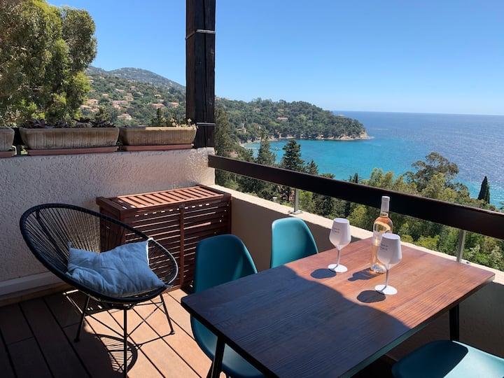Meublé 3 Etoiles Golfe St Tropez face mer +piscine