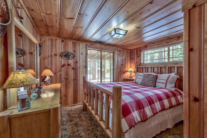 Front bedroom with queen bed, shares hall bathroom