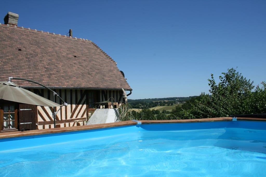 Maison normande en pays d 39 auge avec piscine priv e g tes for Location maison avec piscine en normandie