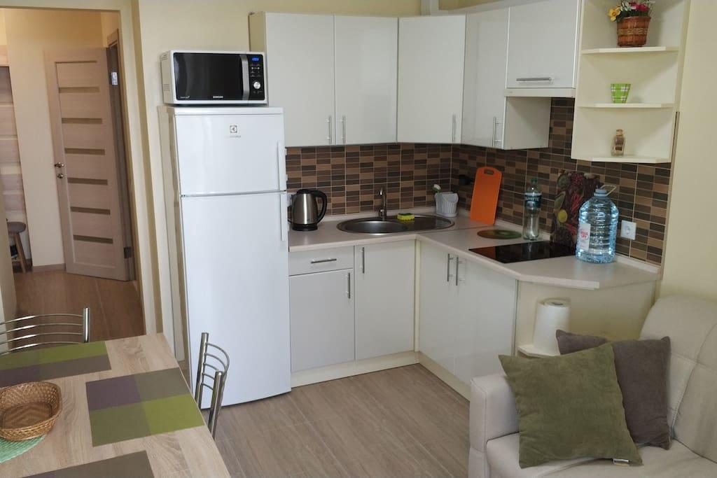 Кухня оснащена новым практически бесшумным холодильником Electolux, электрочайником, микроволновой печью, варочной поверхностью и вытяжкой.