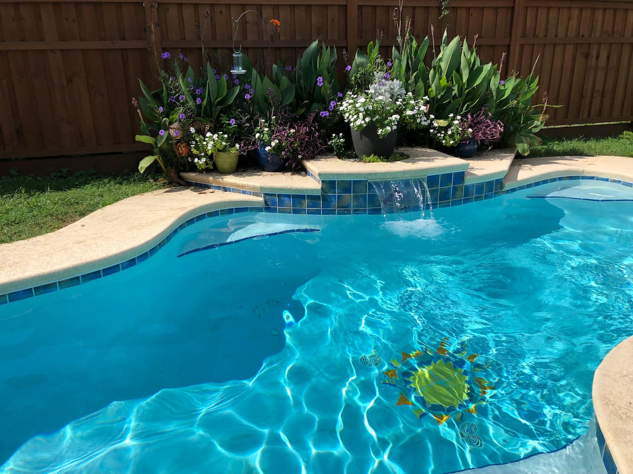 Pool: bigger than a plunge but not a lap pool. About 25' long.