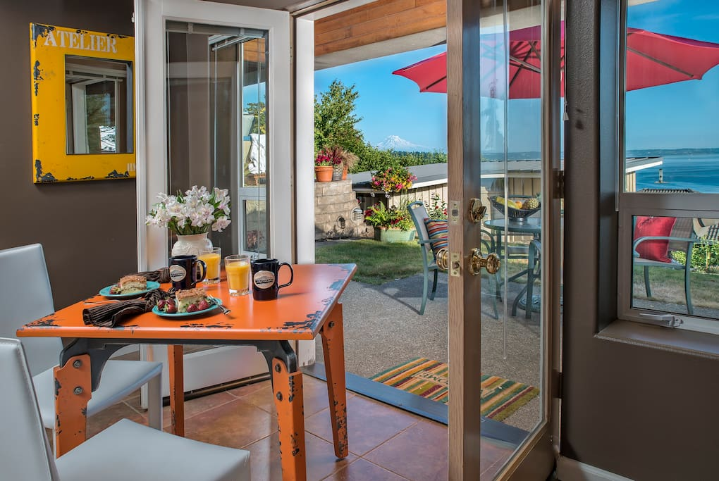 French doors open to the private patio