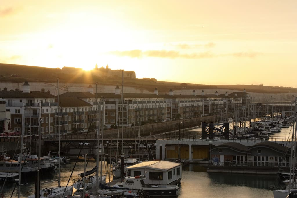 A view from the balcony - sun rise over Brighton Marina