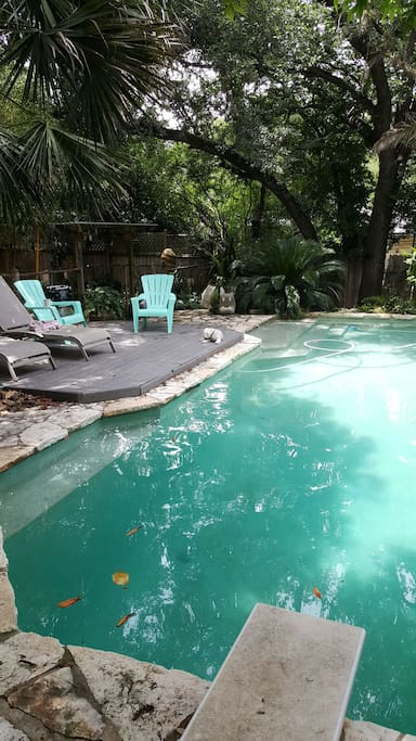 eight and a half foot deep pool with deck and hot tub