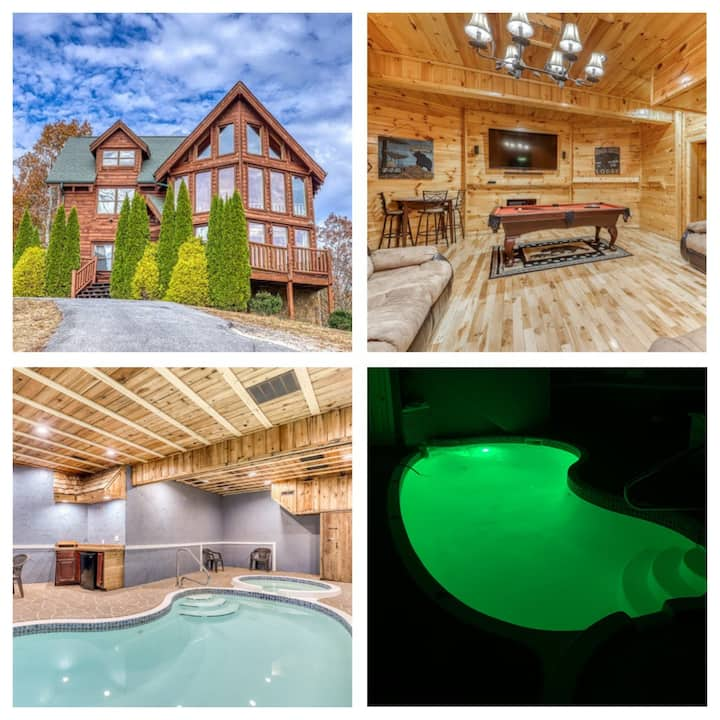 Luxury cabin w/indoor pool, hot tub, view, game rm